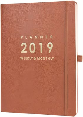 2019 Planner with Pen Holder - Weekly & Monthly Calendar Stickers, Inner