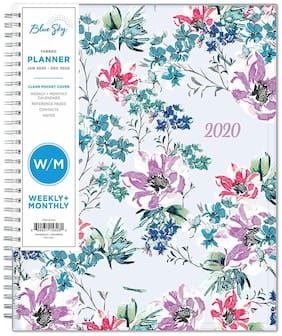 """2020 Weekly & Monthly Planner,Flexible Cover,Twin-Wire Binding,8.5"""" x 11"""", Laila"""