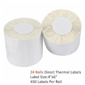 24 Roll 4x6 Direct Thermal Mailing Label 450/Roll Zebra ZP450 2844 Free Shipping