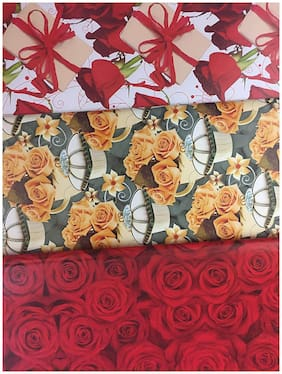 25 Set of Flower Prints Gift wrapping paper Sheet in three designs (20 x 27 inch) 85 GSM