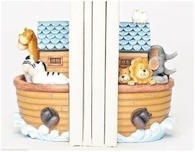 2pc Set Noah's Ark Bookends Nursery Lion Zebra Elephant Hippo Bird Giraffe 46406