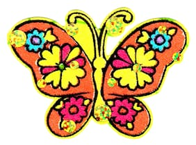 """3"""" Beautiful sequin flowered orange butterfly fabric applique iron on"""