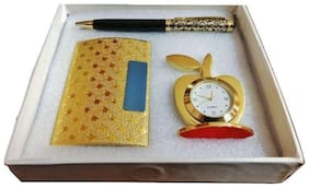 3 In 1 Gift Set With Metallic Gold Color Table Watch;Metallic Premium Pen And Business Card Holder