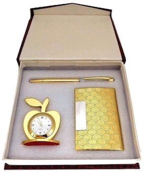 3 In 1 Golden Gift Set With Apple Clock;Crystal Pen;Business Card Holder;Free Magnetic Leather Jewellery Box;Excellent Quality (Golden)