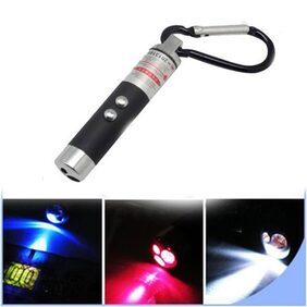 3 in 1 - Red Laser Light + White Light + Money Detector with Carabineer Clip / Key Chain ( Assorted Color )