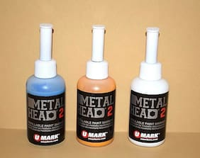 3 Metal Head Paint Markers 2 Oz Blue Yellow White Metal Marking Auto Salvage