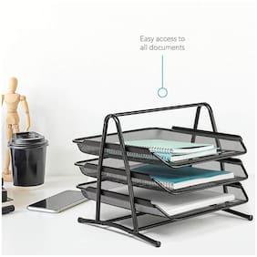 3 Tiers Steel Mesh Document Tray;File Basket;Office Desk Organiser;Letter Tray Organiser;Desktop Document Paper File Organiser.