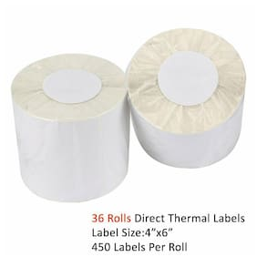 36 Rolls 450/Roll 4x6 Direct Thermal Shipping Blank Labels - Zebra 2844 505 450