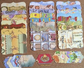 36 Sizzix Stampin Up Top Note & Tag Set - Debbie Mumm Travel 1/2 with glitter