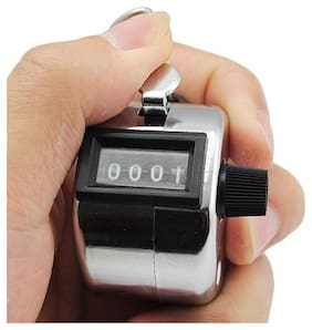 4 Digit Manual Hand Tally Mechanical Palm Click Counter (Pack of 1) Silver