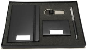 4 in 1 Diary Gift Set;Pen Set with Elastic Notebook Diary;Card Holder;Metal Keychain and Premium Pen