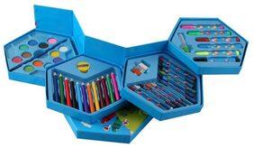 46Pcs COLORING KIT BOX (Color Pencil;Water Color;Crayons;Sketch Pens (Set Of 46Pieces)