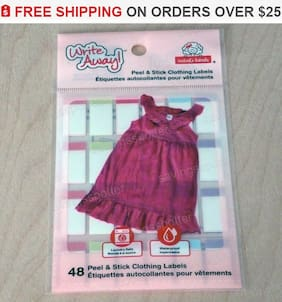 48 ct. Write Away Peel Stick Girls Clothing Labels NO IRON Waterproof Mabel