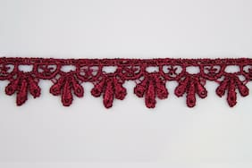 "5/8"",3/4"",1"",1.25"",1.75"",2"", 2.5"", 3"",3.25"" Embroidered Burgundy Venice Lace"