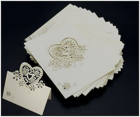 50x 2 Color Wedding Laser Cut Heart Table Place Reception Engagement Name Cards