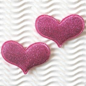 "60 pc x 1.5"" Padded Shiny Glittered Felt Heart Appliques for Valentine's ST538"
