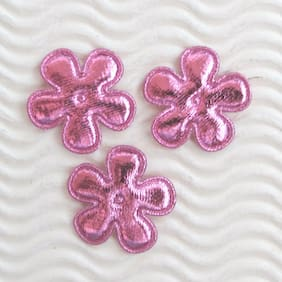 """60 pc x 1"""" Mix Color Padded Silver Shiny Felt Flower Appliques/Christmas ST607"""