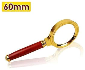 60mm Handheld 10X Magnifier Glass Loupe Reading Jewellery Sold By Evershine Gifts and Household (maroon-gold)