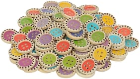 65 pcs 4 Hole Round Shape Wooden Printed Buttons for Sewing and Crafts 20 mm