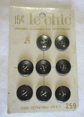 "8 Charcoal Gray 4 Hole Vintage Round Buttons Size 9/16"" Le Chic On Card"