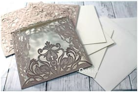 8 Rose Gold Lace Floral Elegant Laser Invitation Card Wedding Quinceanera Party