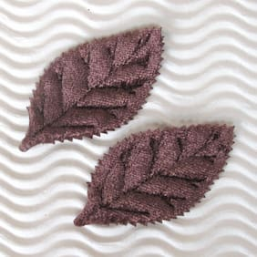 "(80 - 90 pcs) x 2"" Padded Satin/Velvet Leaf Appliques/2-Face for Card ST191X"