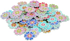 85 pcs Flower Shape 2 Hole Wooden Printed Buttons for Sewing and Crafts 20 mm