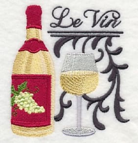 """9 x 12"""" Embroidered Quilt Block - Pre Order - French Wine"""