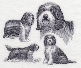 "9 x 12"" Embroidered Horizontal Quilt Block - Pre-Order - Bearded Collie Sketch"