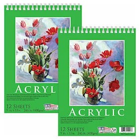 """9"""" x 12"""" Extra Heavy-Weight Acrylic Painting Paper Pad 246lb 12-Sheets (2 Pads)"""