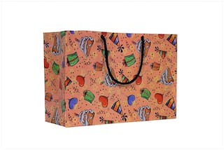 A&A Bags Latest Design Trendy Laminated Paper Bags for Multipurpose (Birthday Design, 8 x 12 x 4 inch)