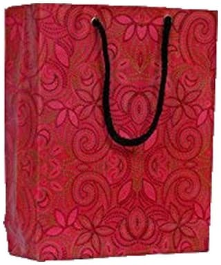 A&A Bags Printed Laminated Paper Bag with Flora Design (8 x 6 x 2 inch) -Pack of 10