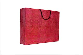 A&A Printed Laminated Paper Bag with Flora Design (Pack of 10) Size - 13 * 17 * 4 inch