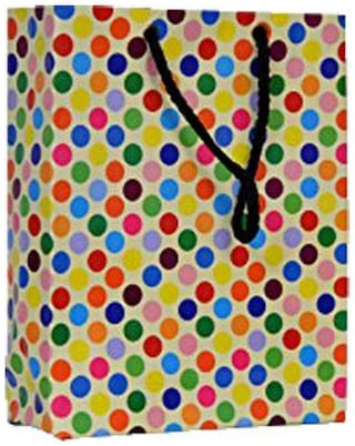 A&A Printed Laminated Paper Bag with Dotted Design (Pack of 10) Size - 8 * 6 * 2 inch