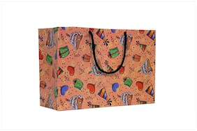 A&A Printed Laminated Paper Bag in Birthday Design (Pack of 10) Size - 8 * 12 * 4 inch
