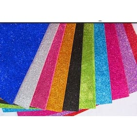 A-Mart  Glitter EVA Foam Sheets of Assorted Colors A4 size Pack Of 10 Sheets