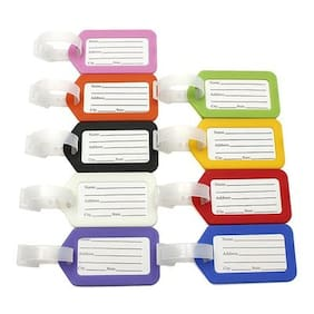 A-Mart  Premium Plastic Luggage Label/Address Label With Binders Multicolored Pack of 10