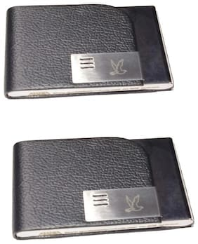 A-Mart  Combo Offer on Executive Leather Covered Magnetic Stainless Steel Visiting Card/Debit Credit Card Wallet With Steel Designer Plate Left Side Opening(Pack of 2)