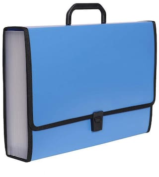 A-Mart  Jumbo Legal Foolscap Size Expanding File Folder with Sewn Edges, 26 Pockets, Strong Handle and Lock Pack of 1 (Blue)