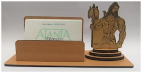 "A-Mart  Wooden Finish Visiting Card Holder With ""Shiv Shankar"" Design For Office Table"