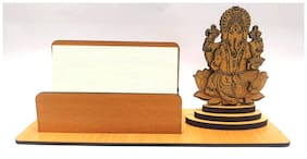 "A-Mart  Wooden Finish Visiting Card Holder With ""Ganesha On Lotus"" Design For Office Table"