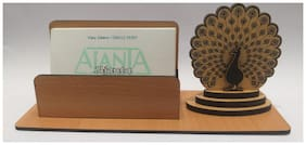 """A-Mart  Wooden Finish Visiting Card Holder With """"Dancing Peacock"""" Design For Office Table"""