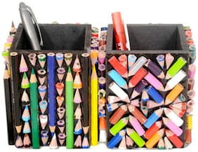 Aahum Sales Wooden Handmade Pen Stand Made Of 300 Natraj Color Pencils (Set Of 2)