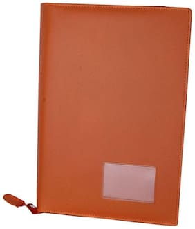 Aahum Sales Faux Leather Document File Folder 4 Ring Style Tan Color