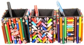 Aahum Sales Wooden Handmade Pen Stand Made Of 425 Natraj Color Pencils (Set Of 3)