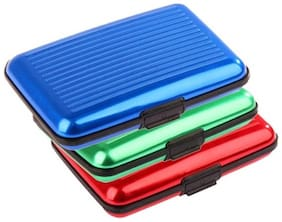 Aahum Sales Business Aluminum Card Holder Set Of 3 (Assorted Color)