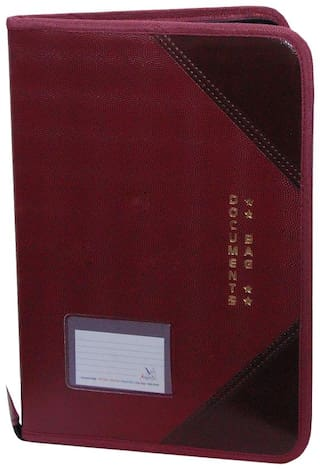 Aahum Sales Faux Leather F/S Executive File Folder Maroon (Assoted Color)