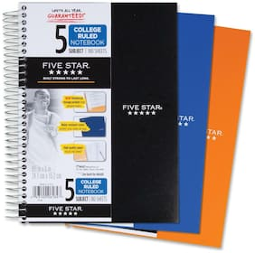 "Acco Notebook Wirebound 5-Subject 180 Sheets 9-1/2""x6"" Assorted 06184"