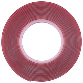 Acrylic Adhesive with Clear Double Sided Heat Resistant Tape 15 m Double-sided Tape  (Red Pack of 2) 1 inch