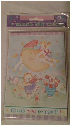 Amscan NURSERY RHYMES Thank You Cards 8 Cards & Envelopes 485400 Moon Dog Spoon